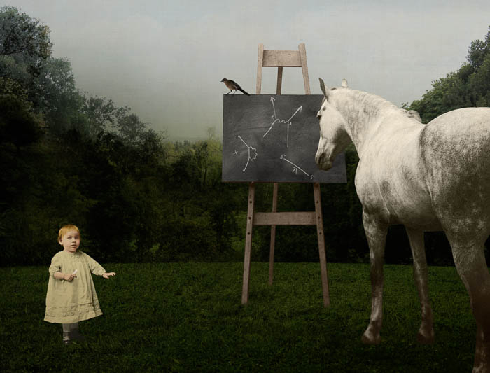 Feynman's Horse by Corinne Geertsen, digital art, digital collage