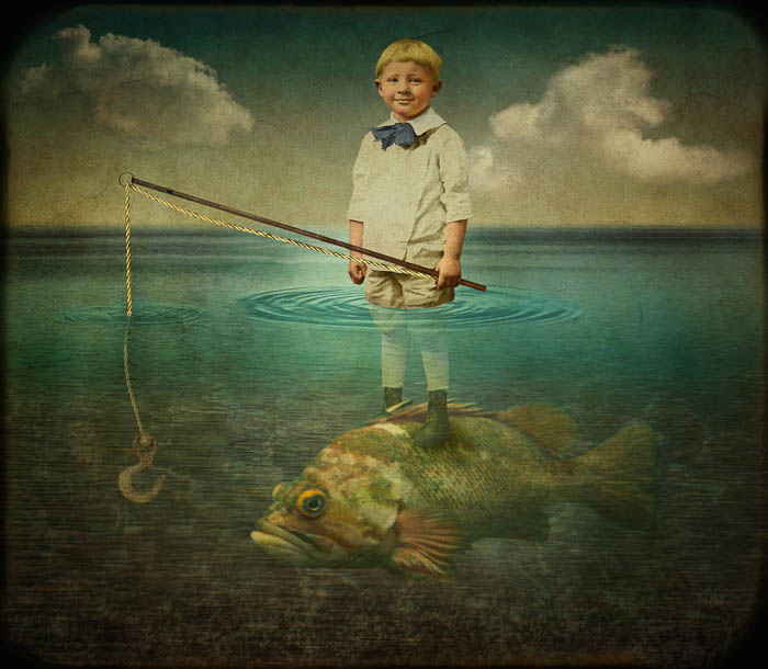 Fishing by Corinne Geertsen, digital art, digital collage