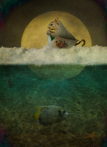 Squirrel Moon by Corinne Geertsen, digital art, digital collage